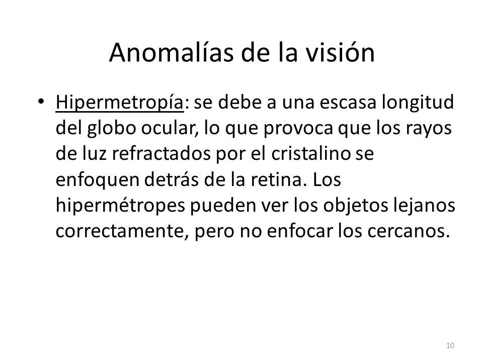 Anomalías de la visión Hipermetropía: se debe a una escasa longitud del globo ocular, lo que provoca que los rayos de luz refractados por el cristalino se enfoquen detrás de la retina.