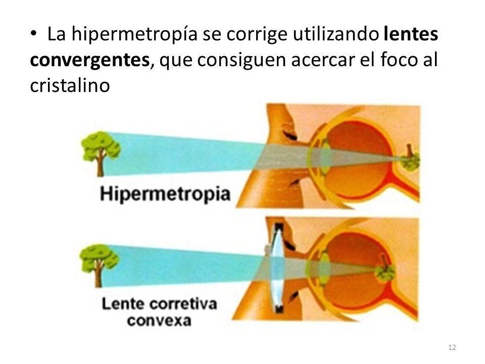 La hipermetropía se corrige utilizando lentes convergentes, que consiguen acercar el foco al cristalino 12