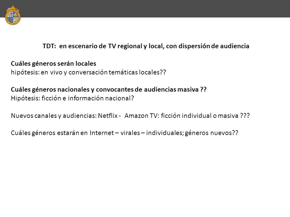 TDT: en escenario de TV regional y local, con dispersión de audiencia Cuáles géneros serán locales hipótesis: en vivo y conversación temáticas locales