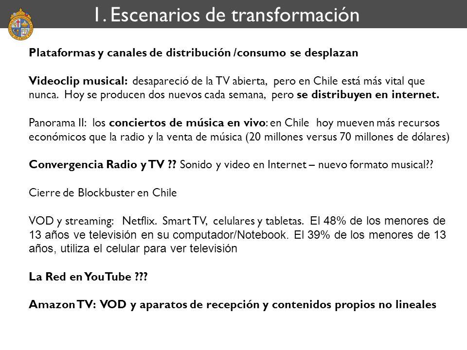 1. Escenarios de transformación Plataformas y canales de distribución /consumo se desplazan Videoclip musical: desapareció de la TV abierta, pero en C