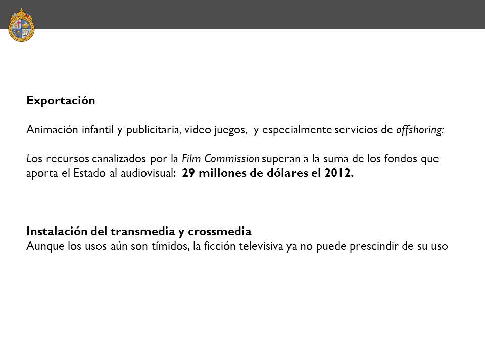 Exportación Animación infantil y publicitaria, video juegos, y especialmente servicios de offshoring: Los recursos canalizados por la Film Commission