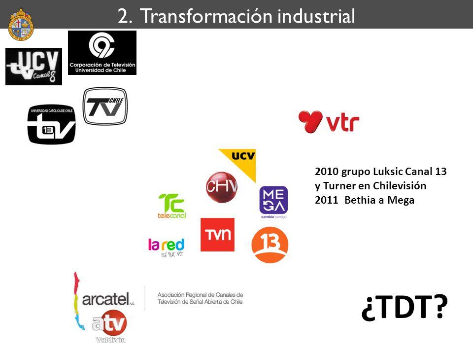 2. Transformación industrial ¿TDT? 2010 grupo Luksic Canal 13 y Turner en Chilevisión 2011 Bethia a Mega