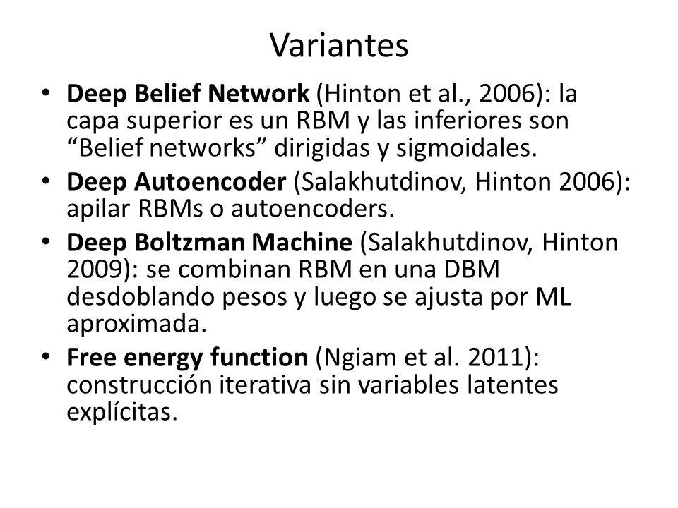 Variantes Deep Belief Network (Hinton et al., 2006): la capa superior es un RBM y las inferiores son Belief networks dirigidas y sigmoidales. Deep Aut