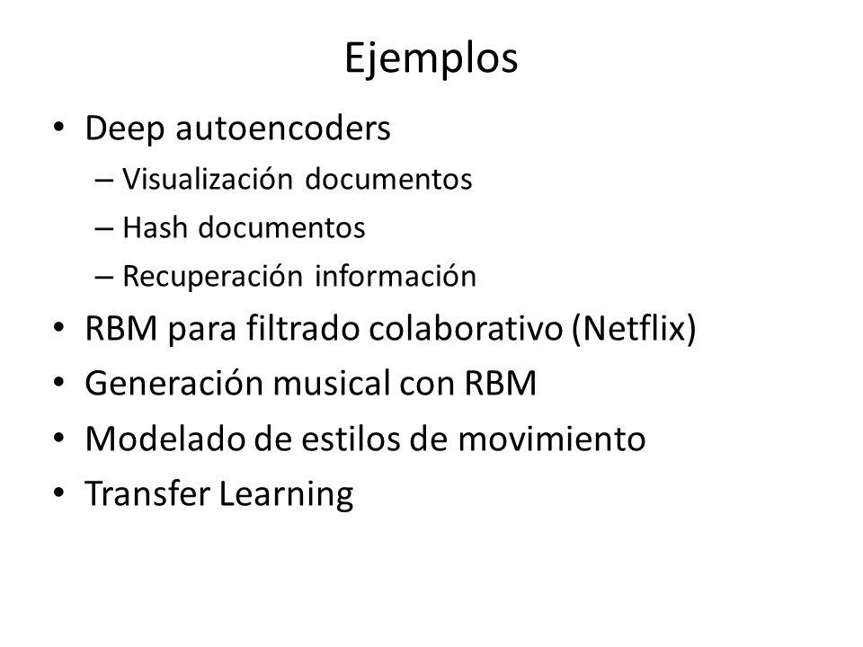 Ejemplos Deep autoencoders – Visualización documentos – Hash documentos – Recuperación información RBM para filtrado colaborativo (Netflix) Generación