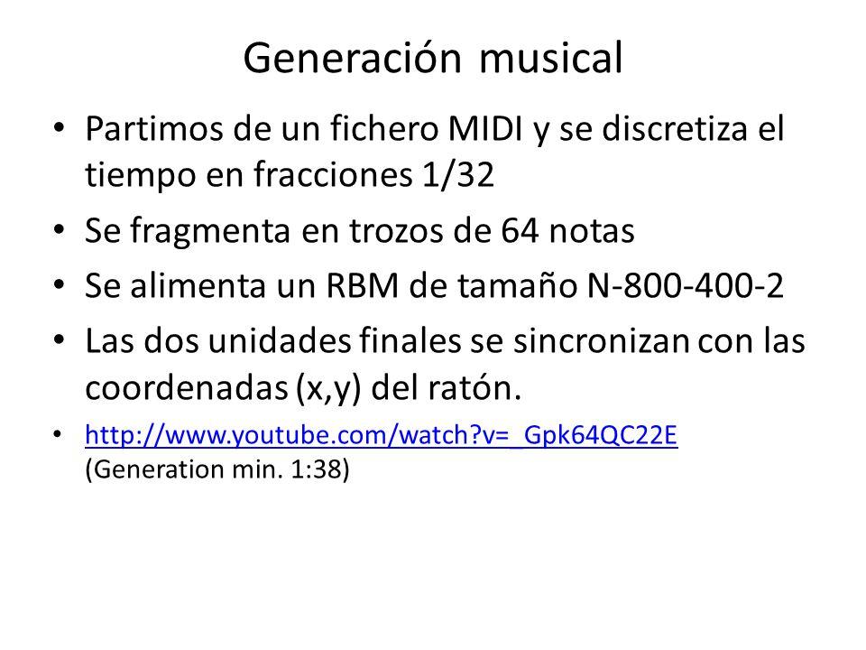 Generación musical Partimos de un fichero MIDI y se discretiza el tiempo en fracciones 1/32 Se fragmenta en trozos de 64 notas Se alimenta un RBM de t