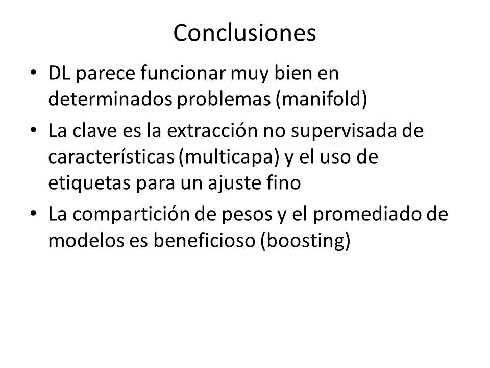 Conclusiones DL parece funcionar muy bien en determinados problemas (manifold) La clave es la extracción no supervisada de características (multicapa)