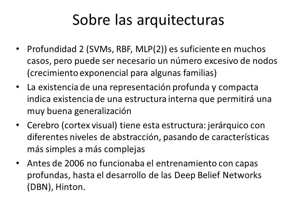 Sobre las arquitecturas Profundidad 2 (SVMs, RBF, MLP(2)) es suficiente en muchos casos, pero puede ser necesario un número excesivo de nodos (crecimi