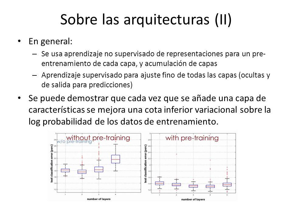Sobre las arquitecturas (II) En general: – Se usa aprendizaje no supervisado de representaciones para un pre- entrenamiento de cada capa, y acumulació