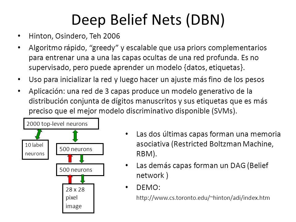 Boltzman Machine Un tipo de red neuronal recurrente (Hinton, Sejnowski, 1986)Hinton Sejnowski Las unidades son de dos tipos: visibles y ocultas Análogas a las redes de Hopfield, pero las unidades son estocásticas Cuando no tienen restricciones en la conectividad son difíciles de manejar y de utilidad limitada El entrenamiento es mediante ascenso de gradiente en log-verosimilitud de los datos observados Problema: dicho entrenamiento deja de funcionar para redes mayores que ejemplos triviales Solución: RBM (restricted Boltzman Machine) 0 0 1