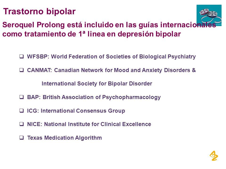 Seroquel Prolong está incluido en las guías internacionales como tratamiento de 1ª linea en depresión bipolar WFSBP: World Federation of Societies of