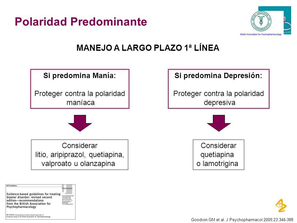 Polaridad Predominante Goodwin GM et al. J Psychopharmacol 2009;23:346-388 Si predomina Manía: Proteger contra la polaridad maníaca Si predomina Depre