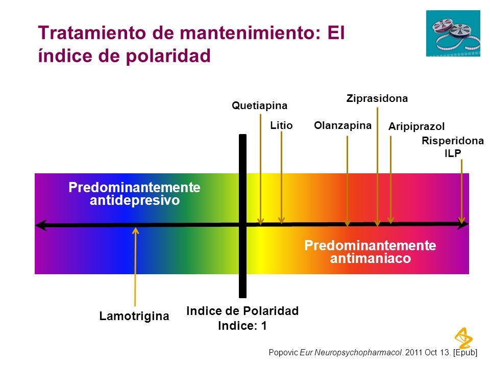 Tratamiento de mantenimiento: El índice de polaridad Olanzapina Aripiprazol Litio Lamotrigina Ziprasidona Predominantemente antidepresivo Quetiapina R