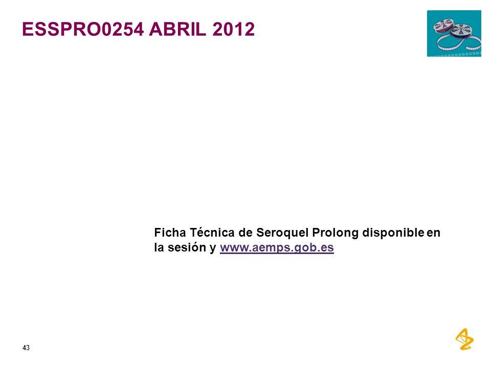 ESSPRO0254 ABRIL 2012 43 Ficha Técnica de Seroquel Prolong disponible en la sesión y www.aemps.gob.eswww.aemps.gob.es