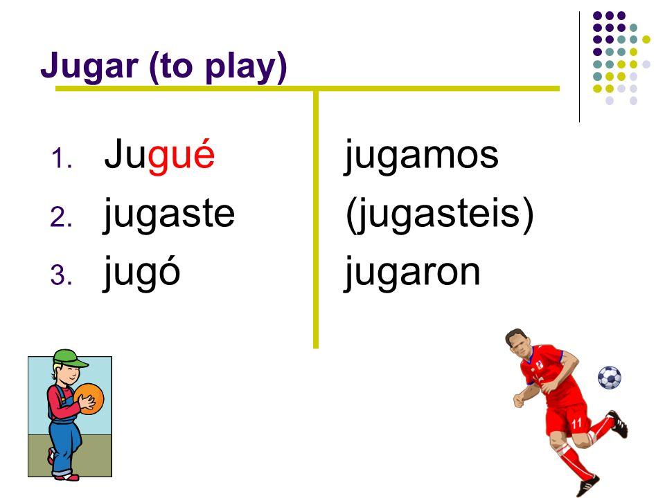 Jugar (to play) 1. Jugué 2. jugaste 3. jugó jugamos (jugasteis) jugaron