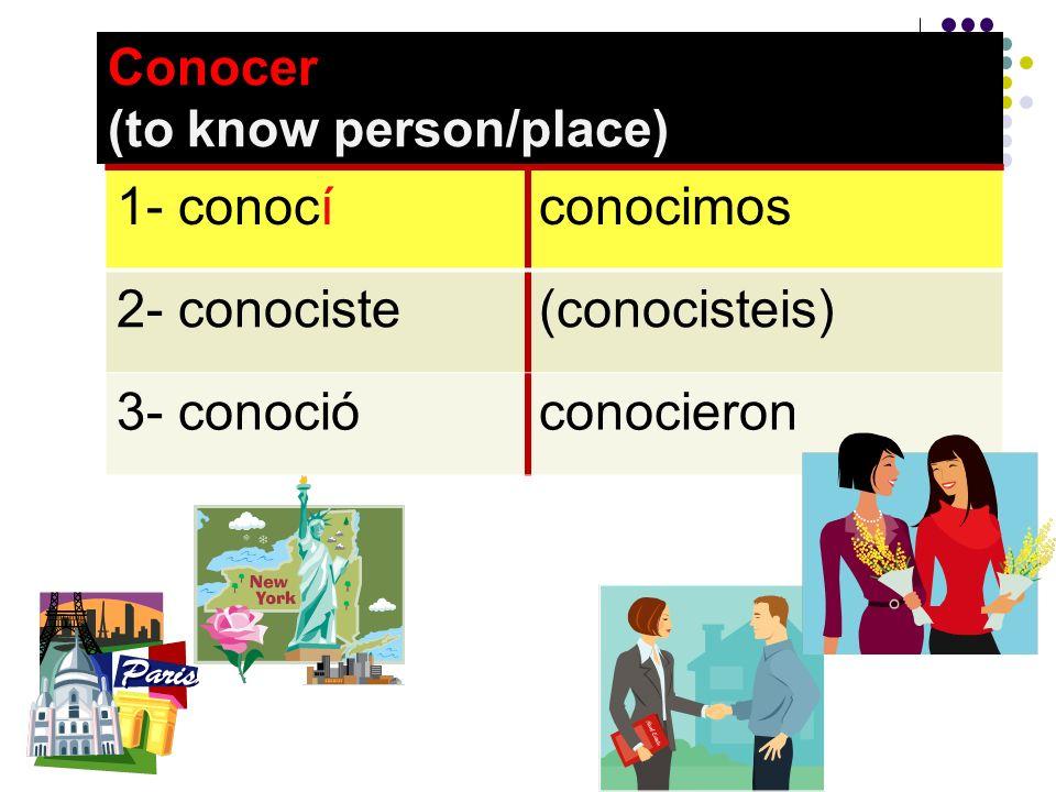 Conocer (to know person/place) 1- conocíconocimos 2- conociste(conocisteis) 3- conocióconocieron