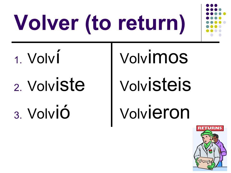 Volver (to return) 1. Volv í 2. Volv iste 3. Volv ió Volv imos Volv isteis Volv ieron