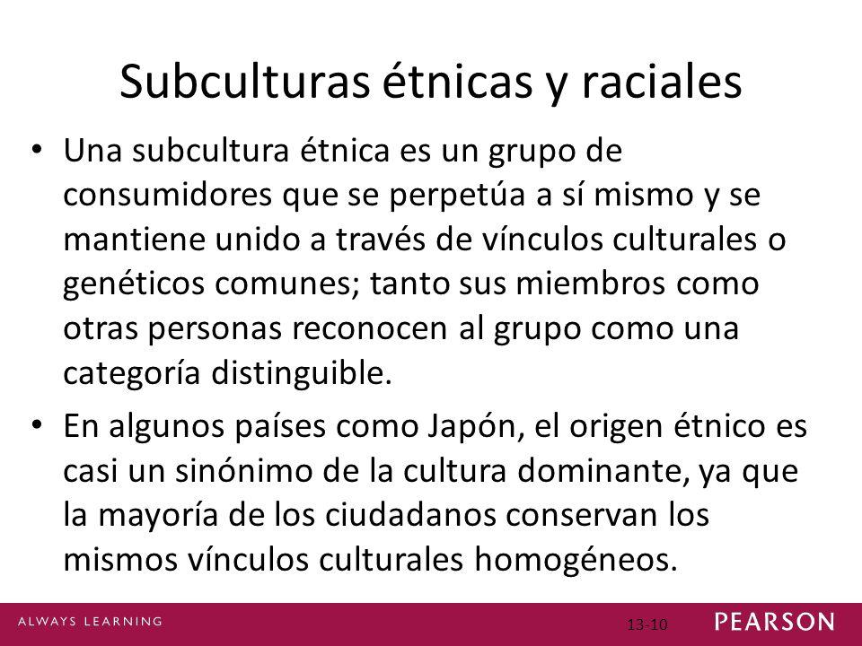 13-10 Subculturas étnicas y raciales Una subcultura étnica es un grupo de consumidores que se perpetúa a sí mismo y se mantiene unido a través de vínculos culturales o genéticos comunes; tanto sus miembros como otras personas reconocen al grupo como una categoría distinguible.