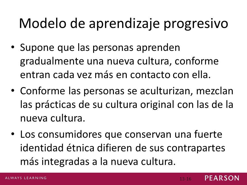 13-16 Modelo de aprendizaje progresivo Supone que las personas aprenden gradualmente una nueva cultura, conforme entran cada vez más en contacto con ella.