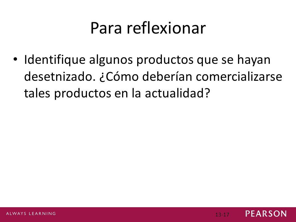 Para reflexionar Identifique algunos productos que se hayan desetnizado.