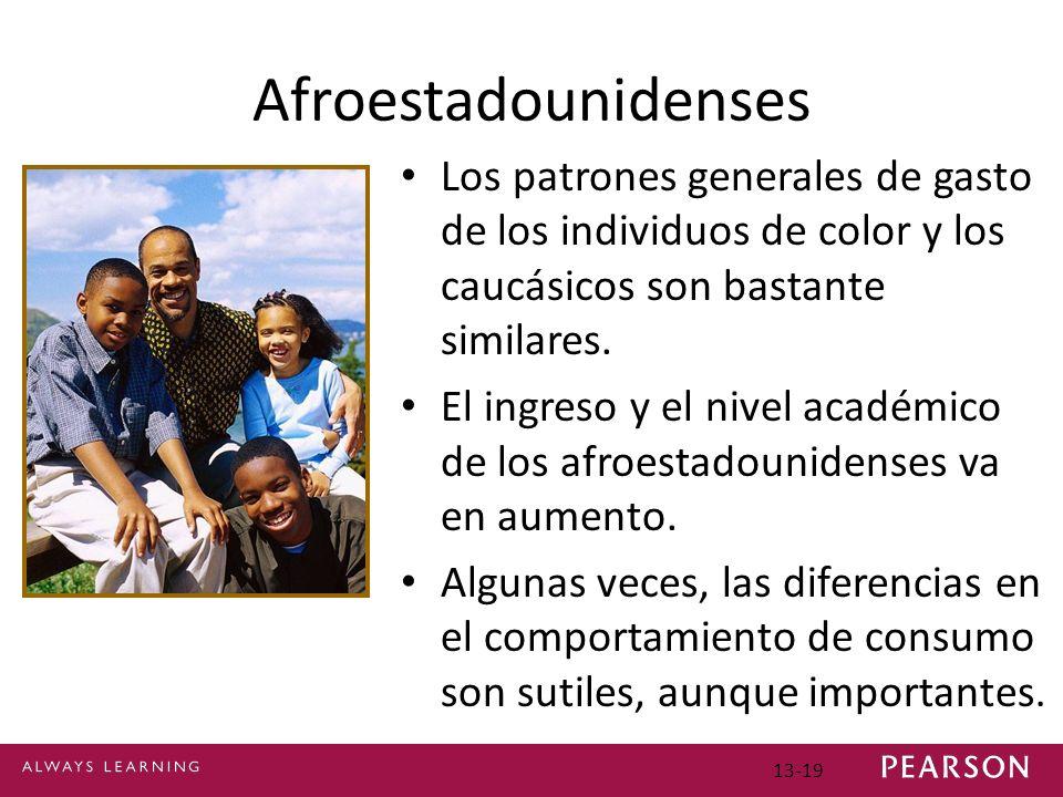 13-19 Afroestadounidenses Los patrones generales de gasto de los individuos de color y los caucásicos son bastante similares.
