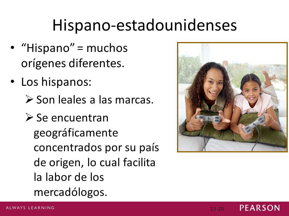 13-20 Hispano-estadounidenses Hispano = muchos orígenes diferentes.