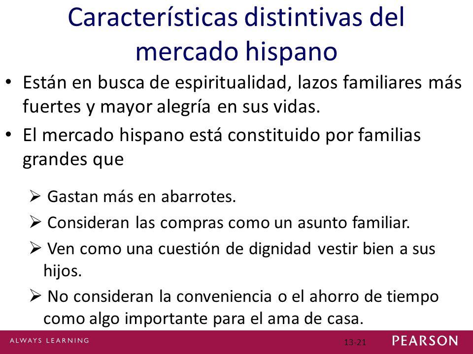 13-21 Características distintivas del mercado hispano Están en busca de espiritualidad, lazos familiares más fuertes y mayor alegría en sus vidas.
