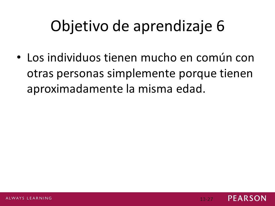 Objetivo de aprendizaje 6 Los individuos tienen mucho en común con otras personas simplemente porque tienen aproximadamente la misma edad.