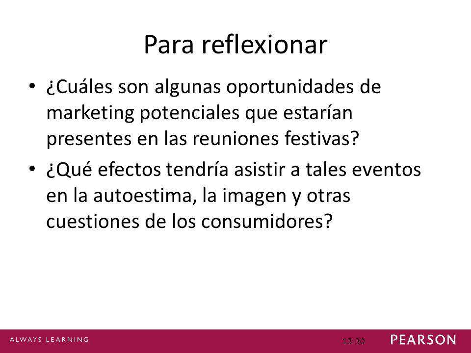 13-30 Para reflexionar ¿Cuáles son algunas oportunidades de marketing potenciales que estarían presentes en las reuniones festivas.