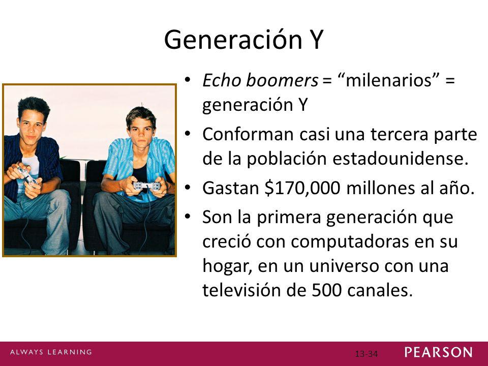 13-34 Generación Y Echo boomers = milenarios = generación Y Conforman casi una tercera parte de la población estadounidense.