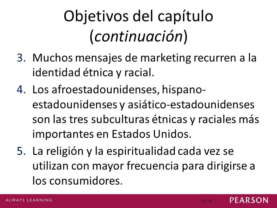 13-4 Objetivos del capítulo (continuación) 3.Muchos mensajes de marketing recurren a la identidad étnica y racial.