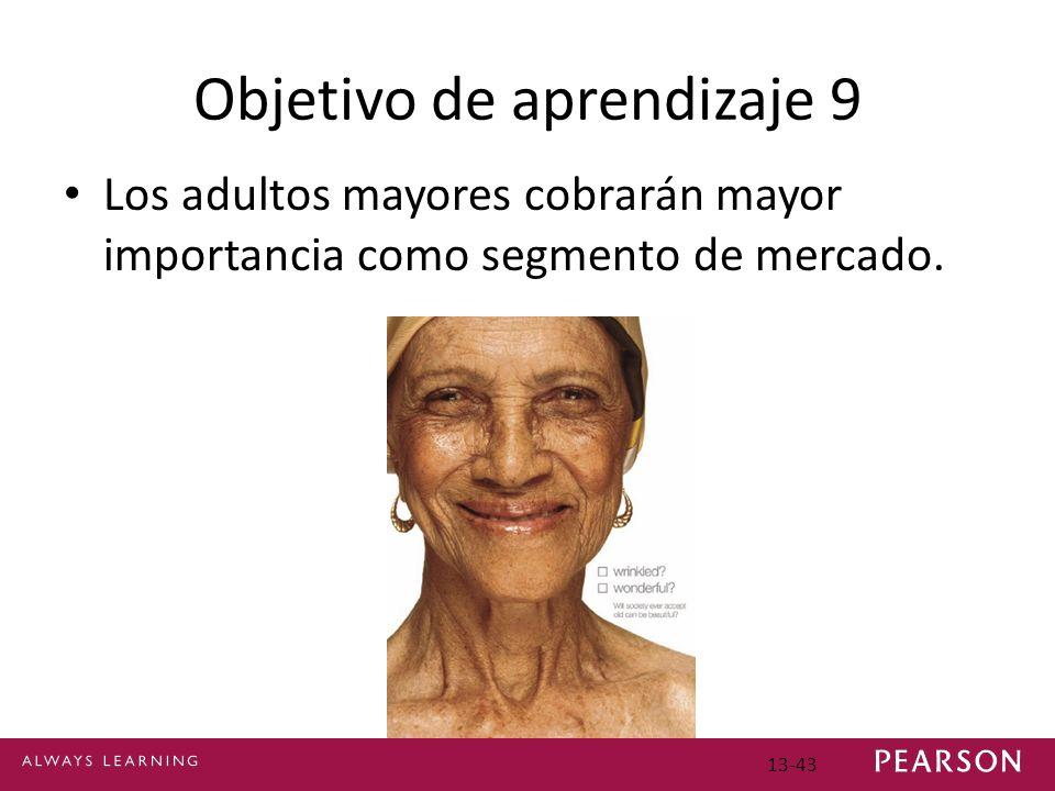 Objetivo de aprendizaje 9 Los adultos mayores cobrarán mayor importancia como segmento de mercado.