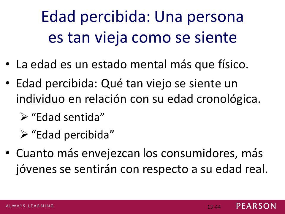 13-44 Edad percibida: Una persona es tan vieja como se siente La edad es un estado mental más que físico.