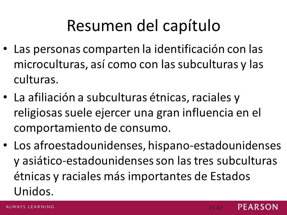 13-47 Resumen del capítulo Las personas comparten la identificación con las microculturas, así como con las subculturas y las culturas.