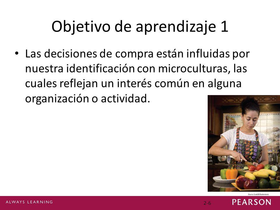 Objetivo de aprendizaje 1 Las decisiones de compra están influidas por nuestra identificación con microculturas, las cuales reflejan un interés común en alguna organización o actividad.