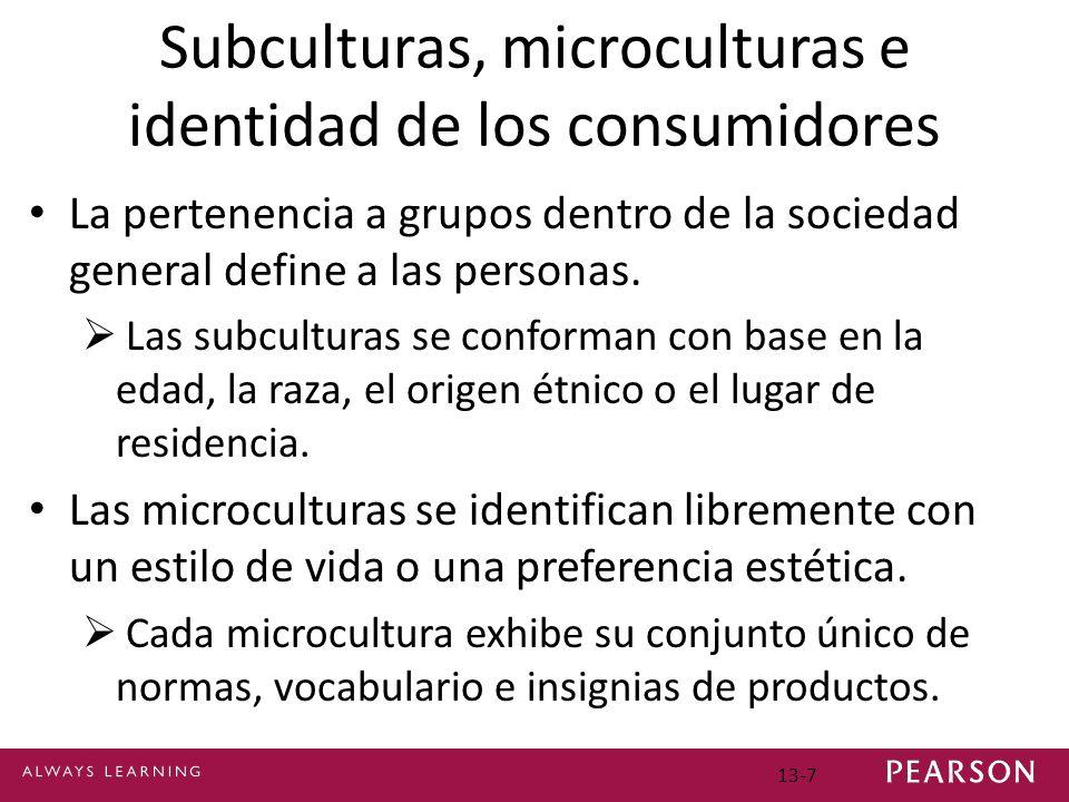 13-7 Subculturas, microculturas e identidad de los consumidores La pertenencia a grupos dentro de la sociedad general define a las personas.