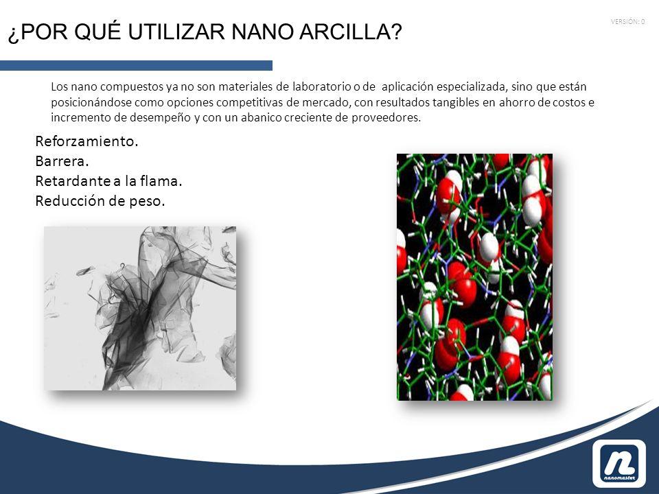 VERSIÓN: 0 ¿POR QUÉ UTILIZAR NANO ARCILLA? Los nano compuestos ya no son materiales de laboratorio o de aplicación especializada, sino que están posic