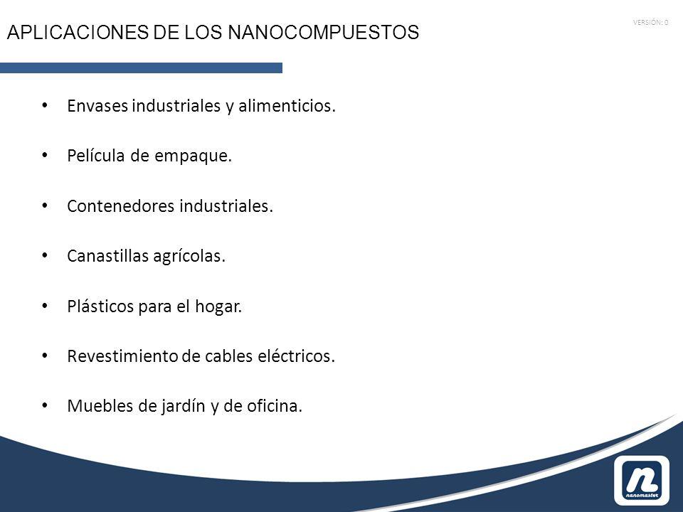 VERSIÓN: 0 APLICACIONES DE LOS NANOCOMPUESTOS Envases industriales y alimenticios. Película de empaque. Contenedores industriales. Canastillas agrícol