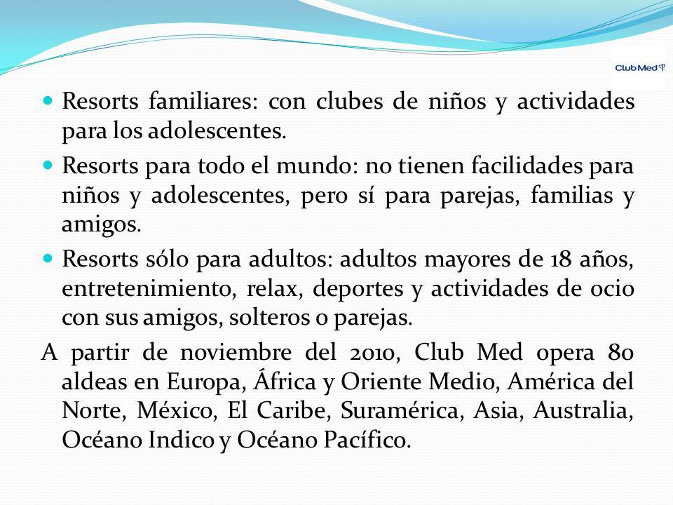 Resorts familiares: con clubes de niños y actividades para los adolescentes. Resorts para todo el mundo: no tienen facilidades para niños y adolescent