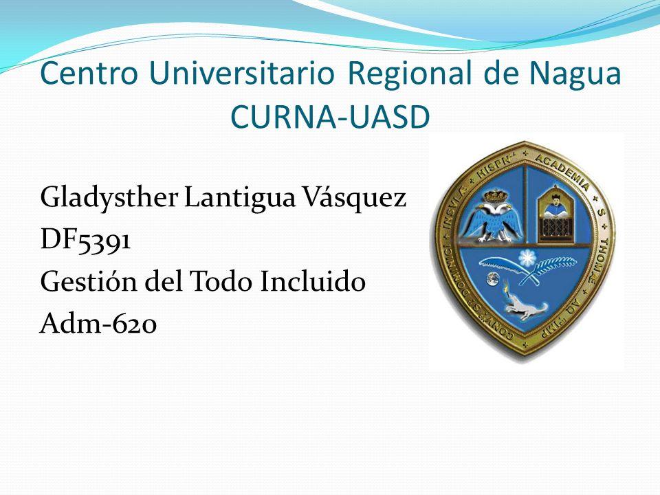 Centro Universitario Regional de Nagua CURNA-UASD Gladysther Lantigua Vásquez DF5391 Gestión del Todo Incluido Adm-620