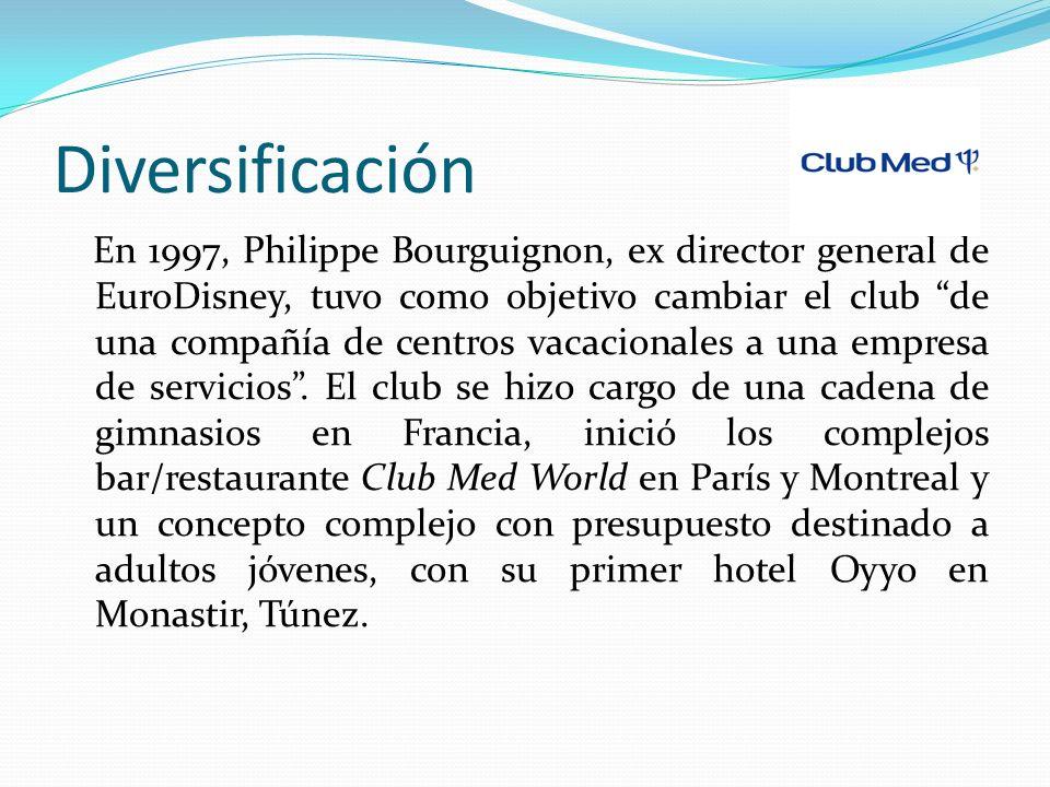 Diversificación En 1997, Philippe Bourguignon, ex director general de EuroDisney, tuvo como objetivo cambiar el club de una compañía de centros vacacionales a una empresa de servicios.