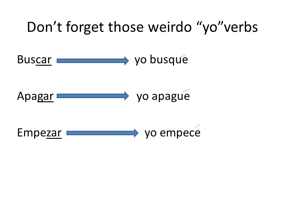Dont forget those weirdo yoverbs Buscar yo busque Apagar yo apague Empezar yo empece
