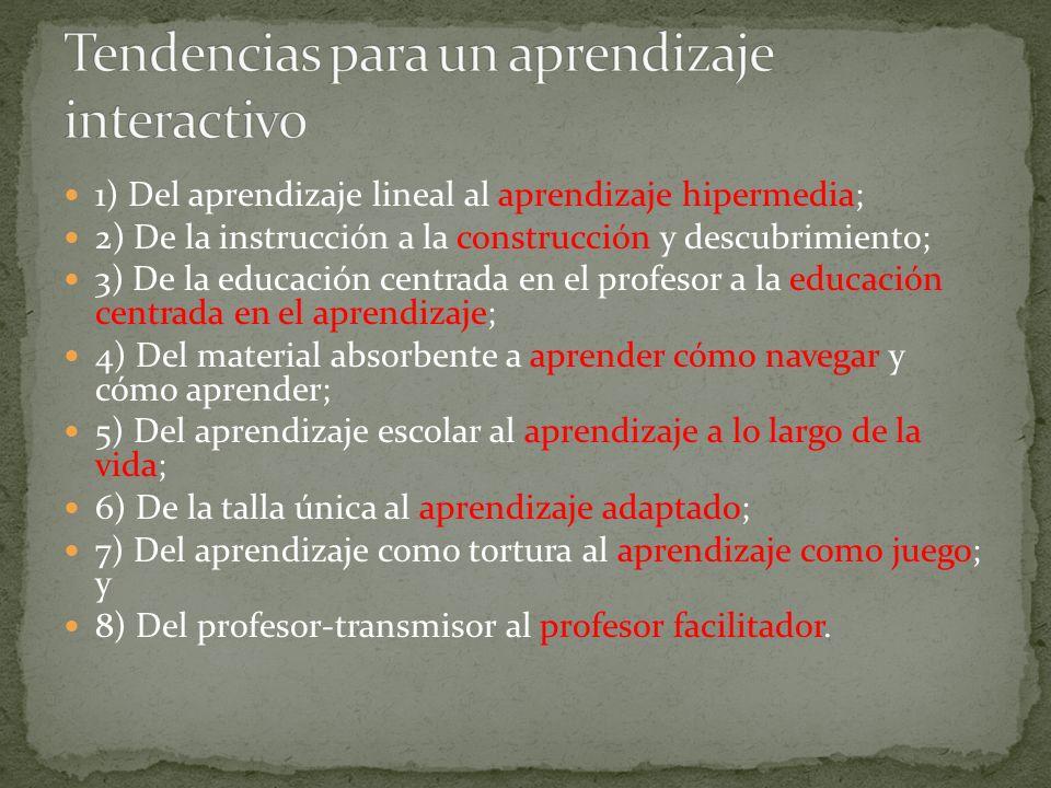 1) Del aprendizaje lineal al aprendizaje hipermedia; 2) De la instrucción a la construcción y descubrimiento; 3) De la educación centrada en el profes