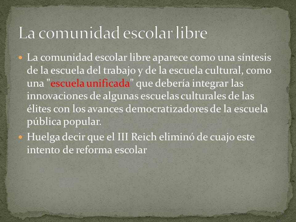 La comunidad escolar libre aparece como una síntesis de la escuela del trabajo y de la escuela cultural, como una