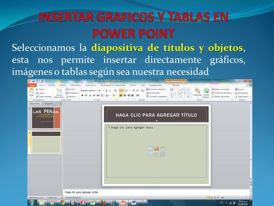 diapositiva de títulos y objetos Seleccionamos la diapositiva de títulos y objetos, esta nos permite insertar directamente gráficos, imágenes o tablas según sea nuestra necesidad