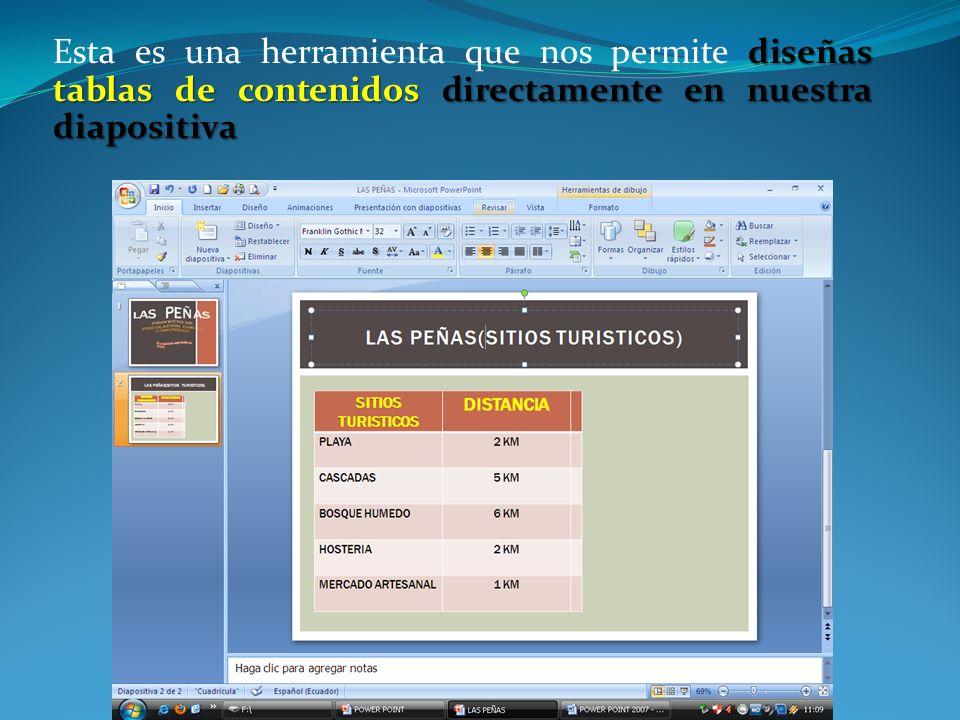 diseñas tablas de contenidos directamente en nuestra diapositiva Esta es una herramienta que nos permite diseñas tablas de contenidos directamente en nuestra diapositiva