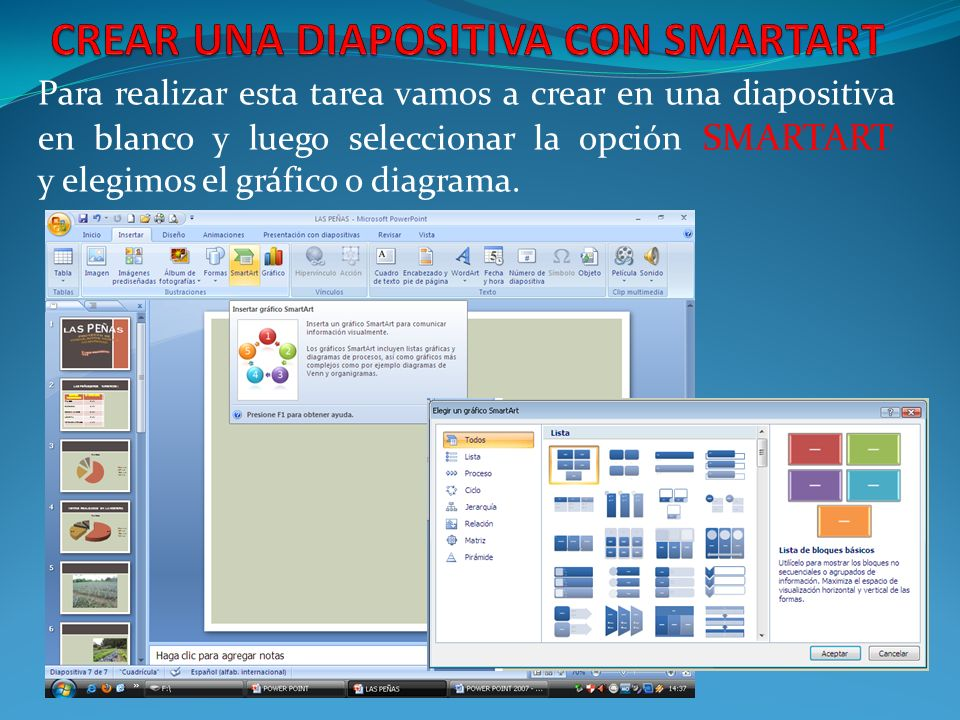 Para realizar esta tarea vamos a crear en una diapositiva en blanco y luego seleccionar la opción SMARTART y elegimos el gráfico o diagrama.