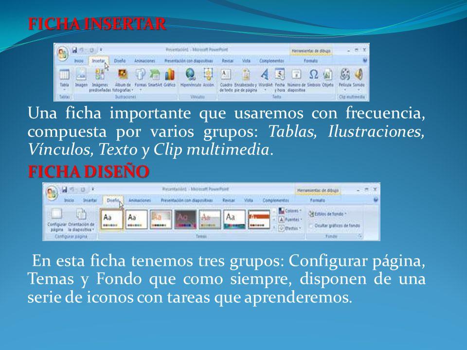 FICHA INSERTAR Una ficha importante que usaremos con frecuencia, compuesta por varios grupos: Tablas, Ilustraciones, Vínculos, Texto y Clip multimedia.
