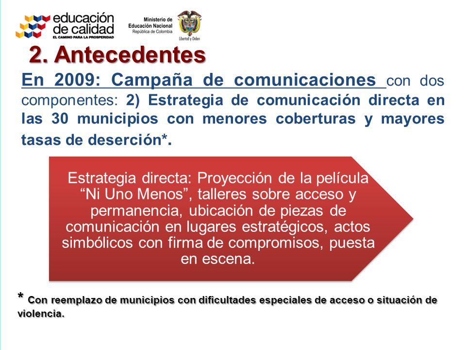 2. Antecedentes En 2009: Campaña de comunicaciones con dos componentes: 2) Estrategia de comunicación directa en las 30 municipios con menores cobertu