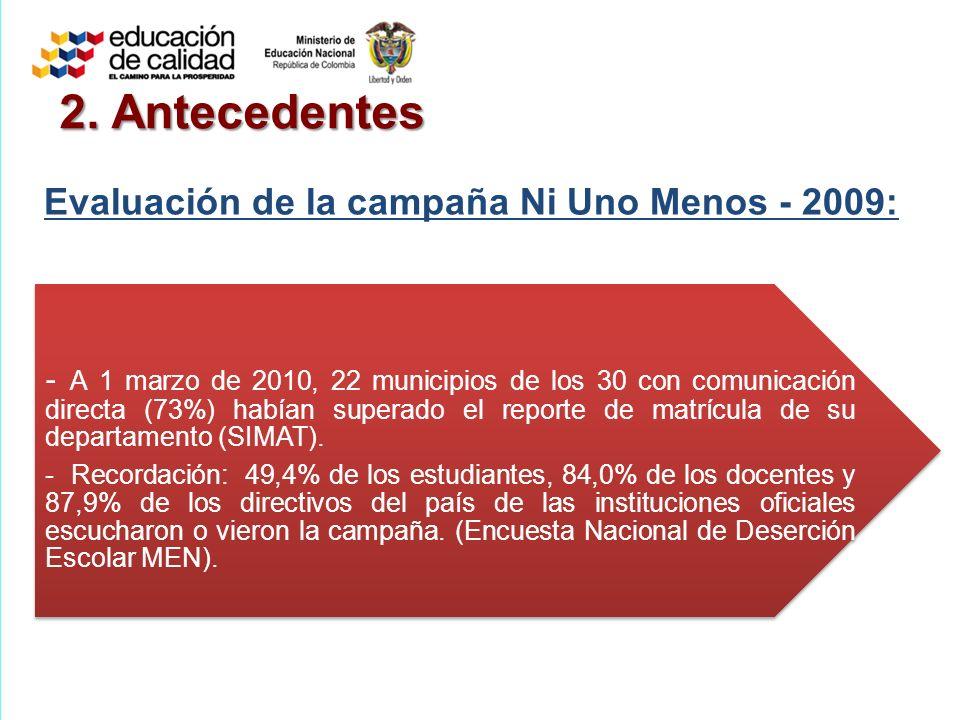 2. Antecedentes Evaluación de la campaña Ni Uno Menos - 2009: - A 1 marzo de 2010, 22 municipios de los 30 con comunicación directa (73%) habían super