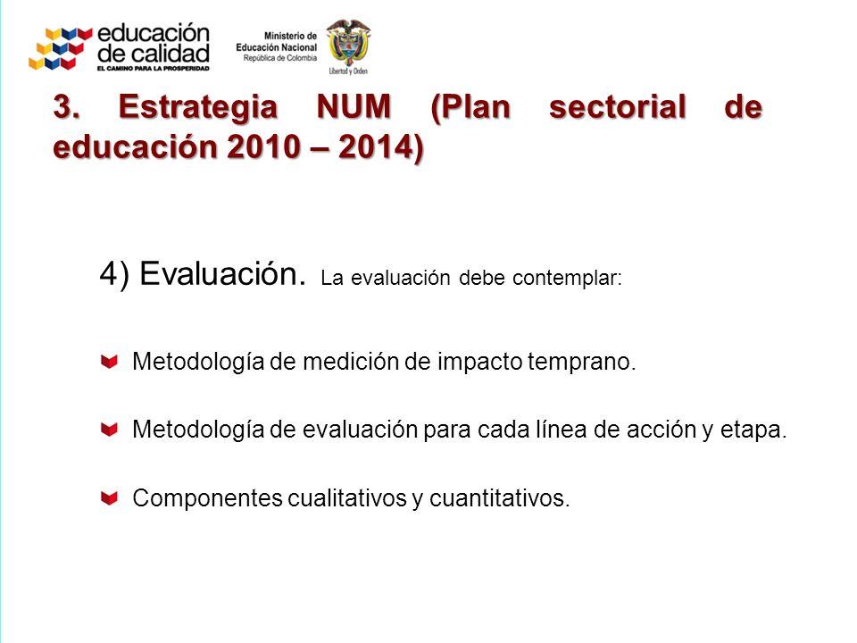 4) Evaluación.La evaluación debe contemplar: Metodología de medición de impacto temprano.